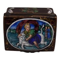 Antique Mythological Enamel Box Crowned Lady Riding a Bull