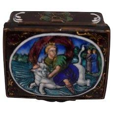 Antique Mythological Enamel Box Crowned Lady Riding a Bull