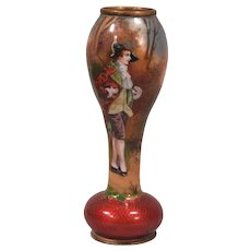 Beautiful Antique French Enamel Cabinet Vase Lady in 18th Century Dress