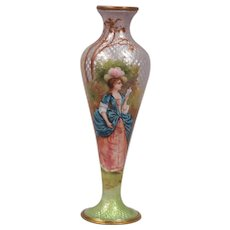 Beautiful Antique French Enamel Cabinet Vase Depicting a Beautiful Lady Reading