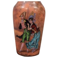 Antique French Enamel Cabinet Vase Depicting Man & Woman in Landscape Setting