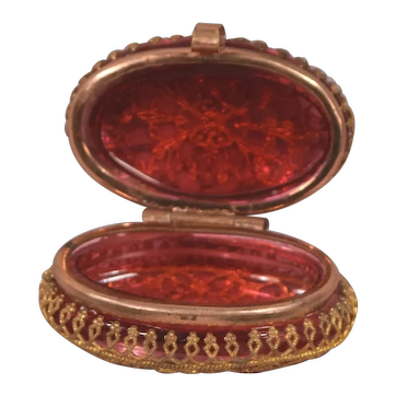 Rare Antique Sculptured Gilt Metal & Rose Colored Glass Snuff Box