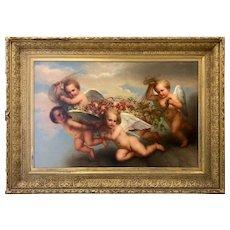 George Henry Hall American Artist 1877 Flying Cherubs With Fruit Bounty