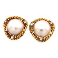 Beautiful Vintage Cellino Mabe Pearl Diamond 18K Gold Earrings