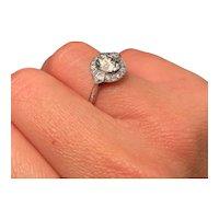 Beautiful 1.23 Carat Art Deco Diamond Platinum Ring I Color VS2 Clarity Old Euro