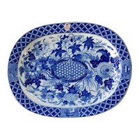 Wedgwood Hibiscus Pattern Blue & White Platter (Military Interest)