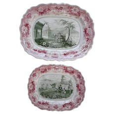 Pair of Two Color Transfer Printed 'Chinese Juvenile Sports' Pattern Platters