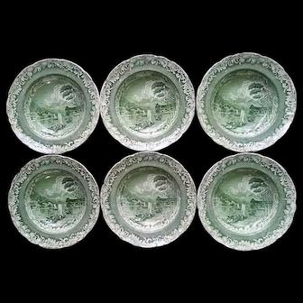 Six Byrons Views Copeland & Garrett Green Transfer Soup Bowls
