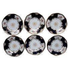 A Set of Six Coalport Blue Batwing  Plates