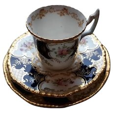 Coalport Blue Batwing Coffee Cup, Saucers and Plate