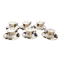 Set of Six Coalport Batwing Demitasses and Saucers