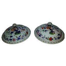 A Pair of Imari pattern Muffin Dishes and Covers by Stevenson Sharp & Co Derby