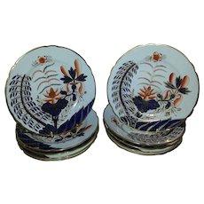 "A Set of Eleven 19th Century Spode Porcelain ""Banana Tree"" Pattern Dessert Plates"