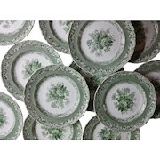Copeland Garrett Late Spode Green Transfer Printed Set of 12 Plates
