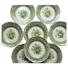 Eight Byron Groups Pattern Green Transfer Copeland Garrett Late Spode  Plates