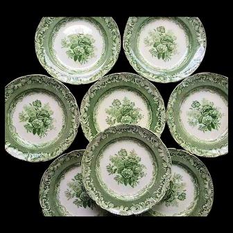 Eight Byron Groups Pattern Green Transfer Copeland Garrett Late Spode  Plates