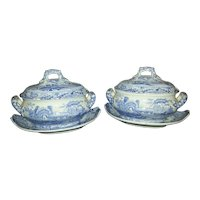 A Pair of Spode Castle Pattern Oval Transfer Printed Sauce Tureens and Stands