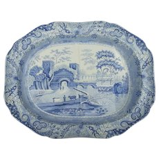 A Spode Castle Pattern Transfer Printed Tree and Well Platter