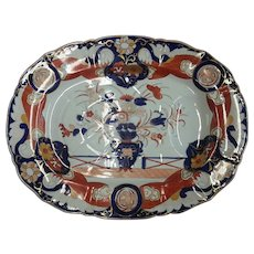 """A Masons Ironstone Fence Vase and Doves Pattern Platter,  21"""" 19th Century"""