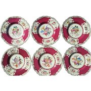 Set of Six Copeland Floral Painted Plates
