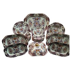 A Spode Stone China Part Dinner Service with Chinoiserie Style Decoration