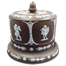 Brown Stoneware Cherubs Cheese Dome and Cover