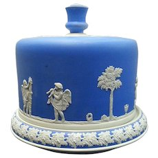 A Ridgway Bright Blue Cheese Dish and Cover