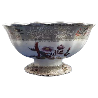 Copeland late Spode Brown Transfer with Clobbering Camellia Pattern Bread Bowl