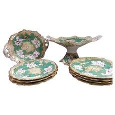 Porcelain Floral Decorated Part Dessert Service