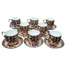Eight Royal Crown Derby Demitasses and Saucers Pattern 2451