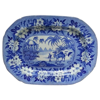 Camel Pattern Blue Transfer Printed Platter