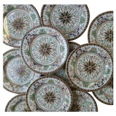 Ashworth's Ironstone Set of Twelve Plates, Butterfly and Dragon Pattern