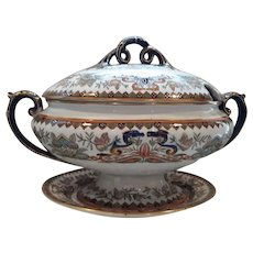 Ashworth's Ironstone Soup tureen, lid and tray, Butterfly and Dragon Pattern