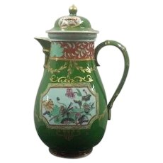 Ashworth's Ironstone Coffee Pot in the Green Trophies Pattern