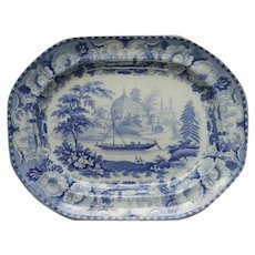 "A Blue and White Transfer Printed Platter ""Hindoo Village on the Ganges"""
