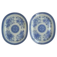 "Pair of Spode Transfer Printed ""Trophies Dagger"" Pearlware Platters"