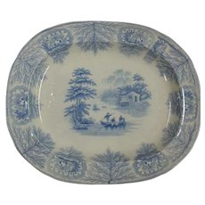 "Blue and White Transfer Printed Platter ""Albion"""