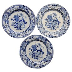 Three Mason's Ironstone Plates Blue Pheasant Pattern