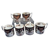 Set of Six Derby King's Pattern Coffee Cans