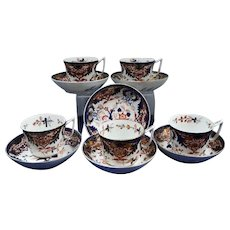 Five Derby King's Pattern Tea Cups and Six Saucers