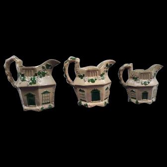Three Drabware Cottage Pitchers