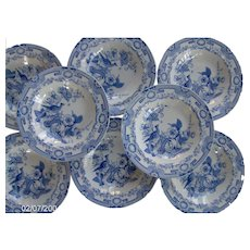 A Hicks, Meigh and Johnson Ironstone Set of Eight Soup Plates