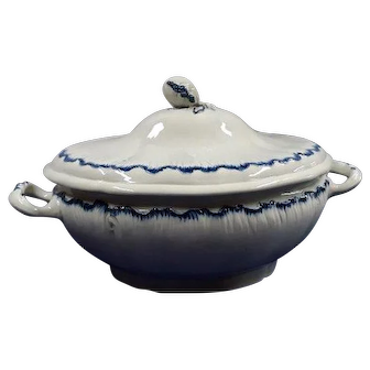 A Large Creamware Blue Feather Edged Tureen and Cover