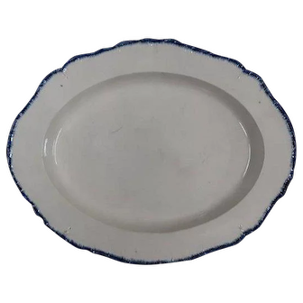 A Large Creamware Blue Feather Edged Platter