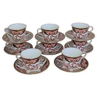 Set of Eight Royal Crown Derby King's Pattern Cups and Saucers.