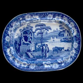 "Blue and White Transfer Printed Platter ""Philosopher"""