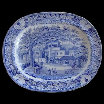 """Blue and White Transfer Printed Platter """"Eastern Street Scene"""""""