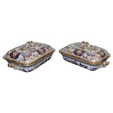 A Pair of Spode Imari Patterned Twin Handled Covered Dishes