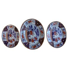 A Set of Three Early 19TH C Davenport Stone China Platters