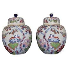 A Pair of Masons Ironstone Flying Bird Pattern Ginger Jars